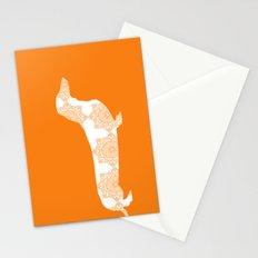 Orange Damask Dachshund Dog Stationery Cards