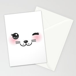 Kawaii funny cat with pink cheeks and winking eyes on white background Stationery Cards