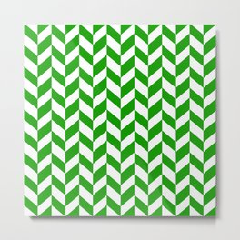 Herringbone Texture (Green & White) Metal Print