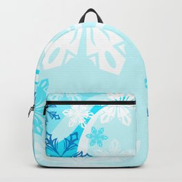 Blue Flower Art Winter Holiday Backpack