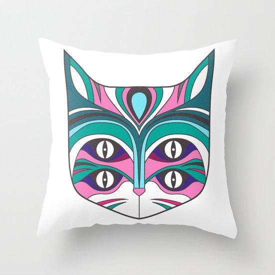 4 eyed cat (2) Throw Pillow