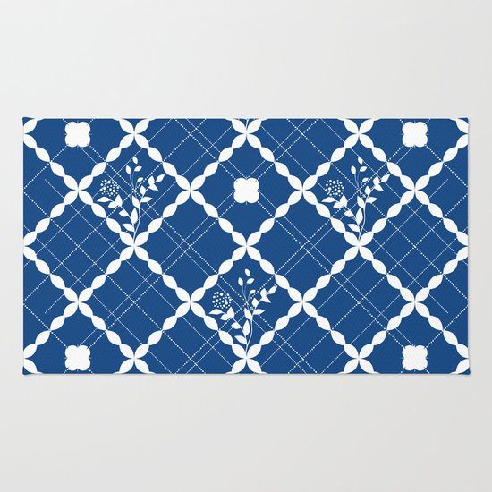 Nautical Blue Rug: Nautical Blue Geometric Pattern And Floral Rug By Famenxt