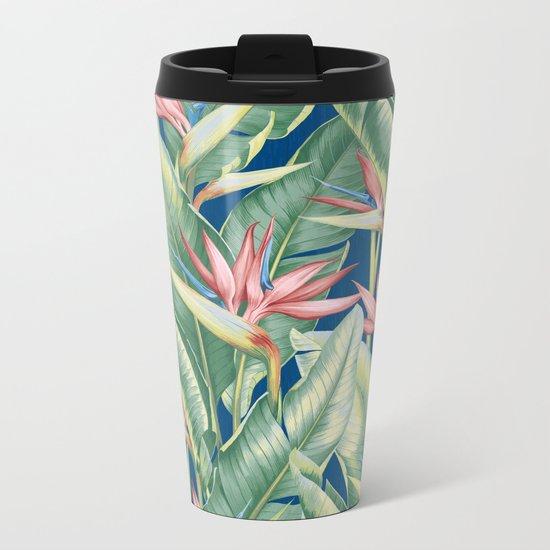 Flowers Birds of Paradise Metal Travel Mug