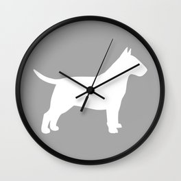 White Bull Terrier Silhouette Wall Clock