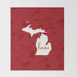 Michigan is Home - White on Red Throw Blanket