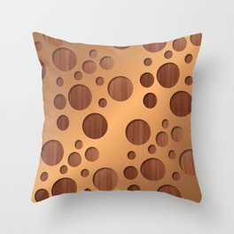 Copper Metal With Circle Wood Cut Outs Digital Art Throw Pillow