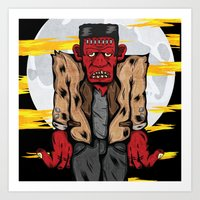 frankenstein Art Prints featuring Frankenstein by Pancho the Macho
