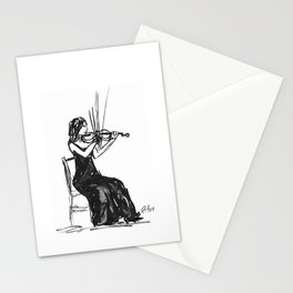 Playing the violin Stationery Cards