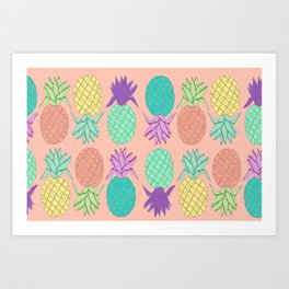 pineapple small coral Art Print