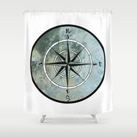 compass Shower Curtains featuring Compass by madbiffymorghulis