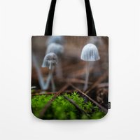 mushrooms Tote Bags featuring Mushrooms by Michelle McConnell