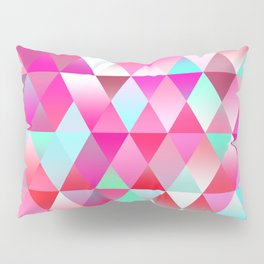 Chic Bright Pink Colors Funky Retro Triangles Mosaic Pattern Pillow Sham