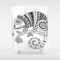 chameleon Shower Curtains featuring Chameleon by Afriquita