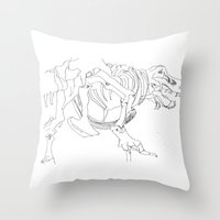 t rex Throw Pillows featuring T-rex by Kimberly Hoskens