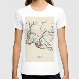 Colorful City Maps: Genoa, Italy T-shirt