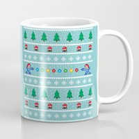 megaman Mugs featuring Christmas Pixel Megaman pattern by KickPunch