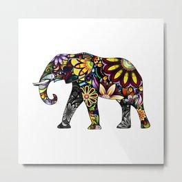 Aztec Elephant White Metal Print