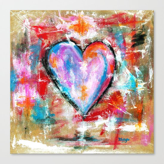 Reckless Heart, Abstract Expressionist Painting Red Pink Blue Canvas Print
