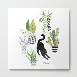 Black cat and plants in the pots. Morning stretch Metal Print