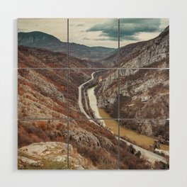Beautiful picture of the canyon in Serbia, with river and the highway in the middle Wood Wall Art