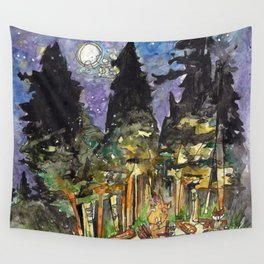 Campfire Under a Full Moon Wall Tapestry