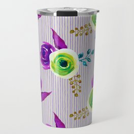 Fearless - bold floral watercolor pattern with stripes Travel Mug