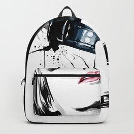 Beauty portrait, Woman slave collar, Nude art, Black and white, Fashion painting Backpack