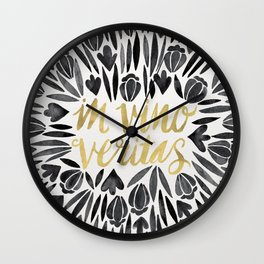 In Wine, There is Truth – Black & Gold Wall Clock