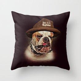 THE DOGFATHER MAFIA BULLDOG Throw Pillow
