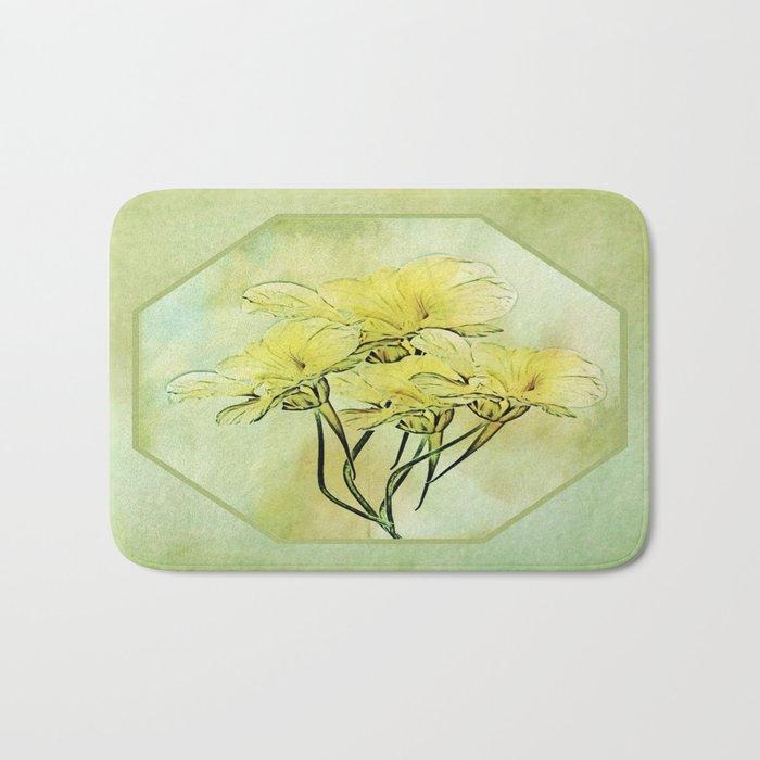 Elegant Framed Floral Abstract - Green Bath Mat