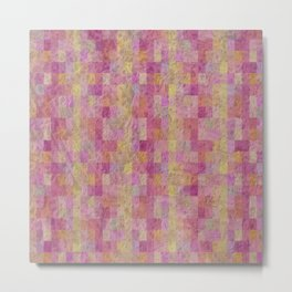 Soft Textured Muted Checkerboard Pattern Metal Print