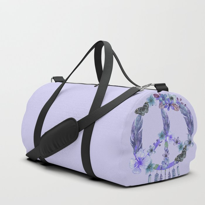 Purple Watercolor Peace Symbol Floral Dreamcatcher Duffle Bag