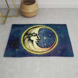 Celestial Antique Man In The Moon Watercolor Batik Rug