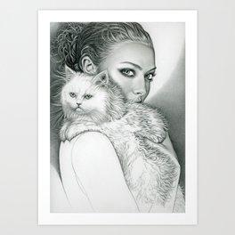 Actress with Cat Art Print