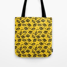 Face Time - retro throwback minimal pattern eyes faces 1980s 80s vintage memphis drawing monochrome Tote Bag