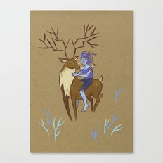 Deer and Girl Canvas Print