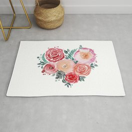 heart love flowers Rug