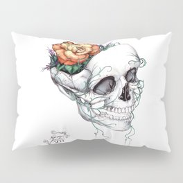 Skull with Flowers Growing out of Head Pillow Sham