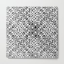 Black and White Broken Diamond Swirl Pattern Metal Print