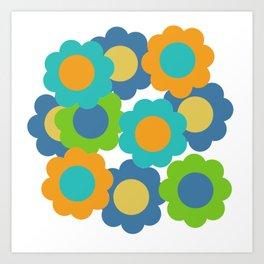 Retro Vintage Bundle of Flowers - Turquoise Art Print