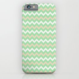 Pastel Green, Beige & Linen White Chevron Line Pattern Pairs to Noe Mint 2020 Color of the Year iPhone Case