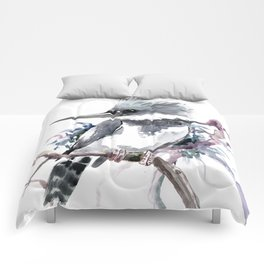 Belted Kingfisher, Gray design, Gray design Comforters
