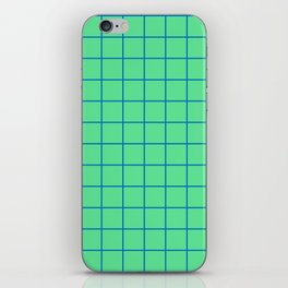 Peppermint Green and Blue Grid iPhone Skin