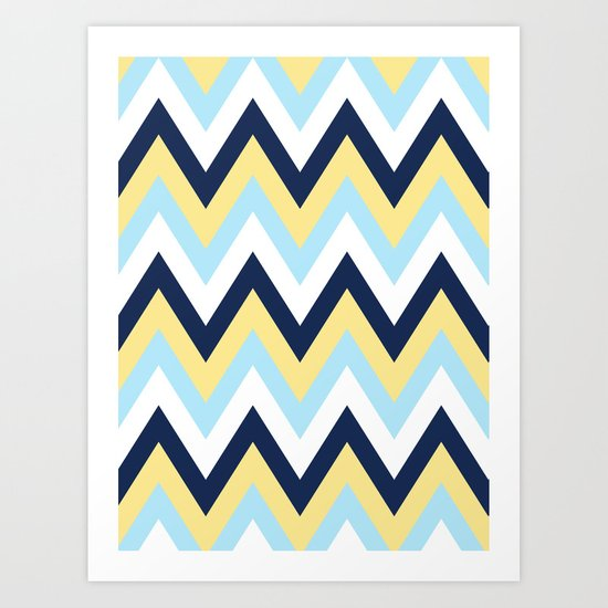Blue & Yellow Chevron 2 Art Print
