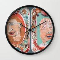 monster Wall Clocks featuring Monster Focals by Valeriya Volkova