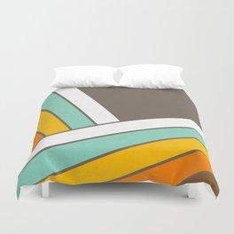 Retro 70s Stripes  -  Abstract Geometric Design Duvet Cover
