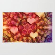 Hot hearts on volcanic kaleidoscope Rug