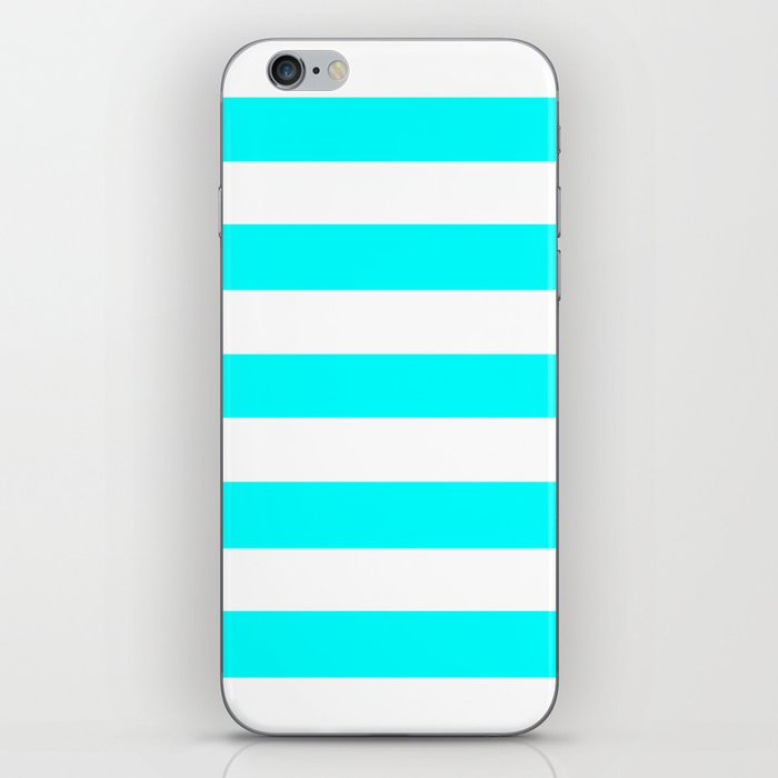 Electric cyan - solid color - white stripes pattern iPhone Skin