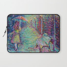 Girl with Pink Umbrella - figurative palette knife city landscape Valentines Day by Adriana Dziuba Laptop Sleeve