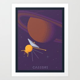 Cassini and Saturn (Grand Finale Poster) Art Print